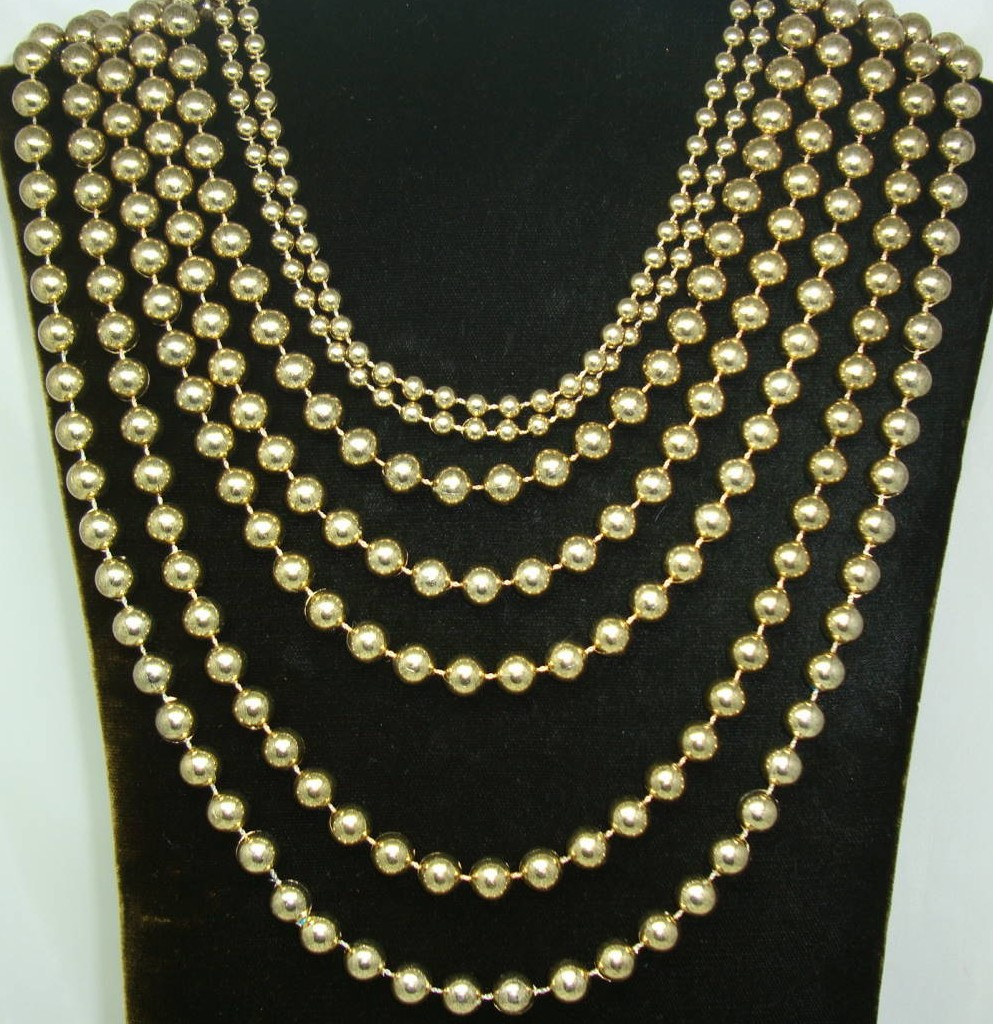 £22.40 - Vintage 50s Style Amazing Show Stopping 7 Row Gold Bead Necklace