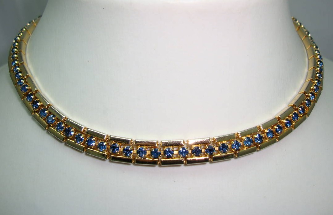 1950s Fab Sapphire Blue Diamante Gold Collar Necklace