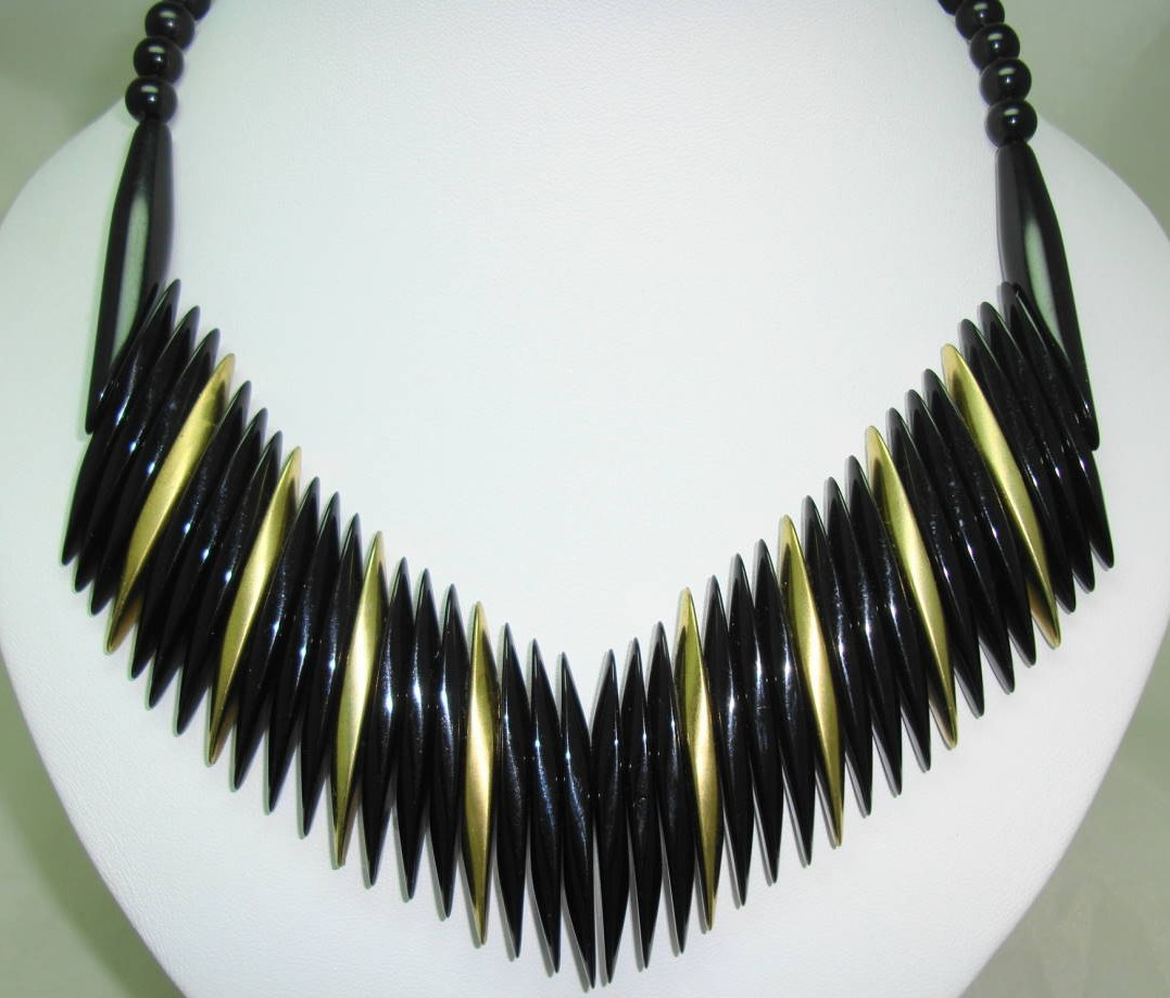 Vintage 60s Black and Gold Lucite Plastic V Shaped Statement Necklace