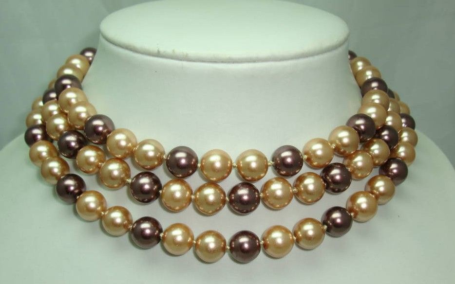 1980s Long Gold Brown  Glass Faux Pearl Bead Necklace