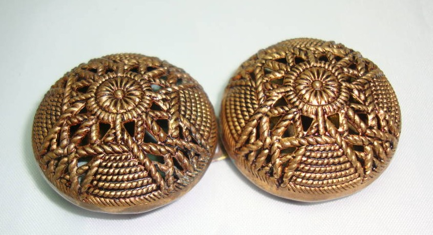 £9.60 - Art Nouveau Czech Gold Metal Ornate Domed Buckle