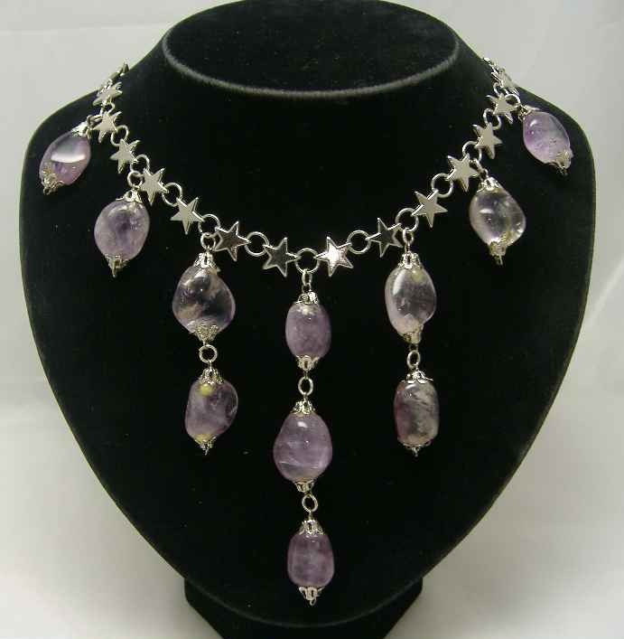 Vintage 50s Real Amethyst Drop Silver Star Necklace WOW