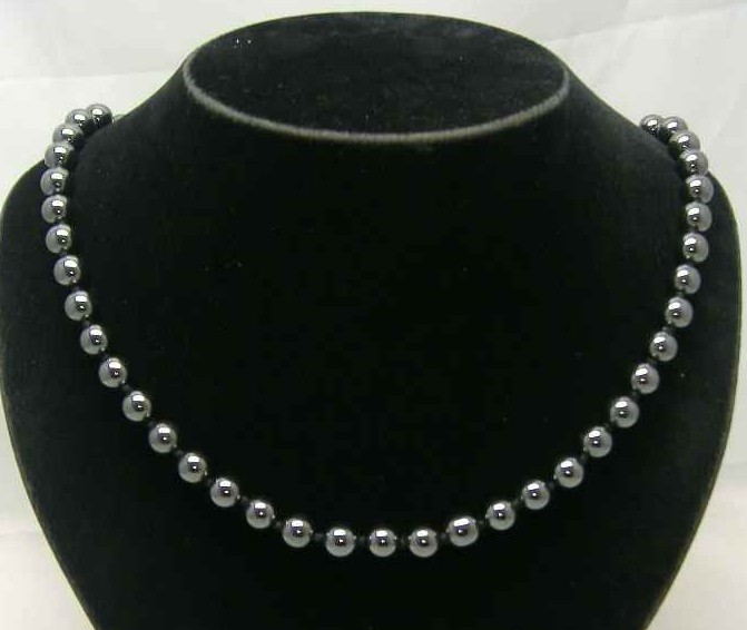 Vintage 50s Real Hematite Hand Knotted Bead Necklace
