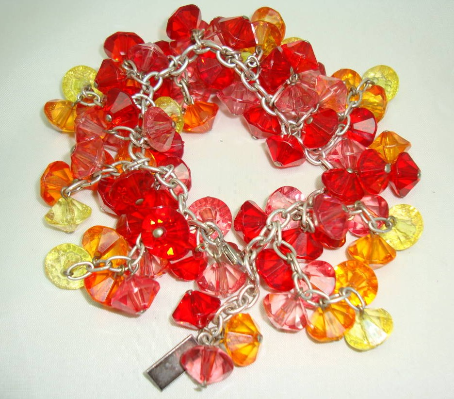 Signed Tosh Red Pink Orange Lemon Lucite Bead Cluster Charm Bracelet