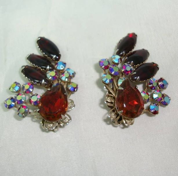 1950s Fab Amber & Blue Red AB Diamante Clip Earrings