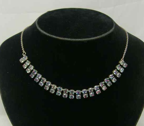 Vintage 50s AB Carnival Double Row Diamante Necklace