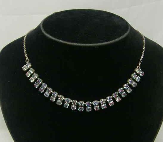 £18.00 - Vintage 50s AB Carnival Double Row Diamante Necklace