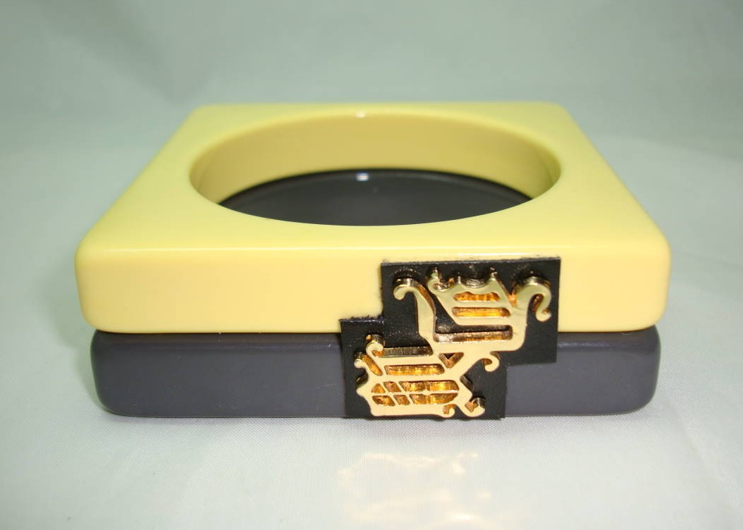 £60.00 - Double Lemon & Grey Square Bangle with Versace Hardware