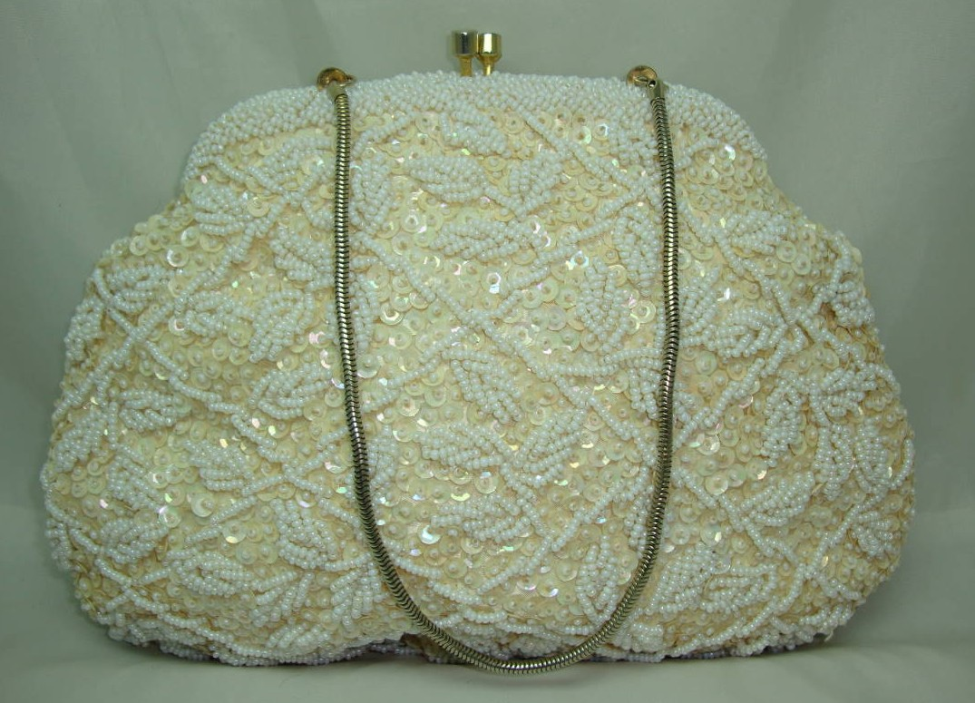Vintage 50s Lovely Cream Sequin & Bead Evening Handbag