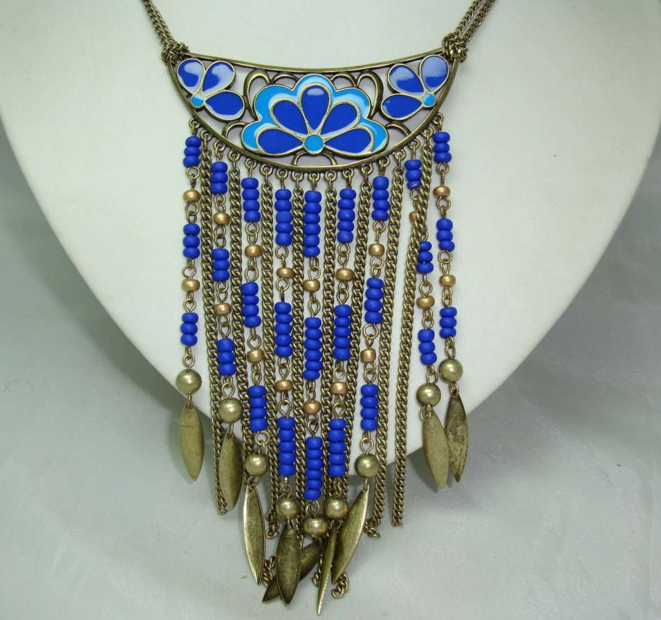 £18.40 - Vintage 70s Style Blue Enamel Flower Tassel Boho Statement Necklace