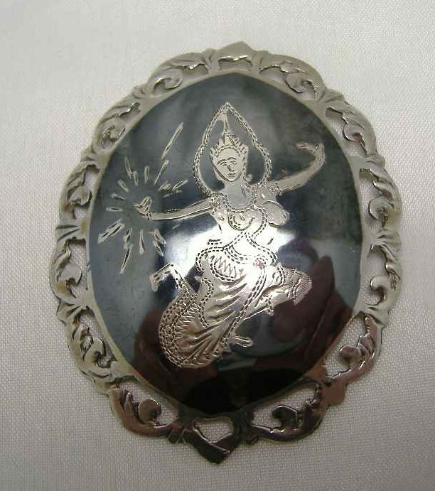 Vintage 50s Sterling Silver Siam Niello Dancing Girls Enamel Brooch