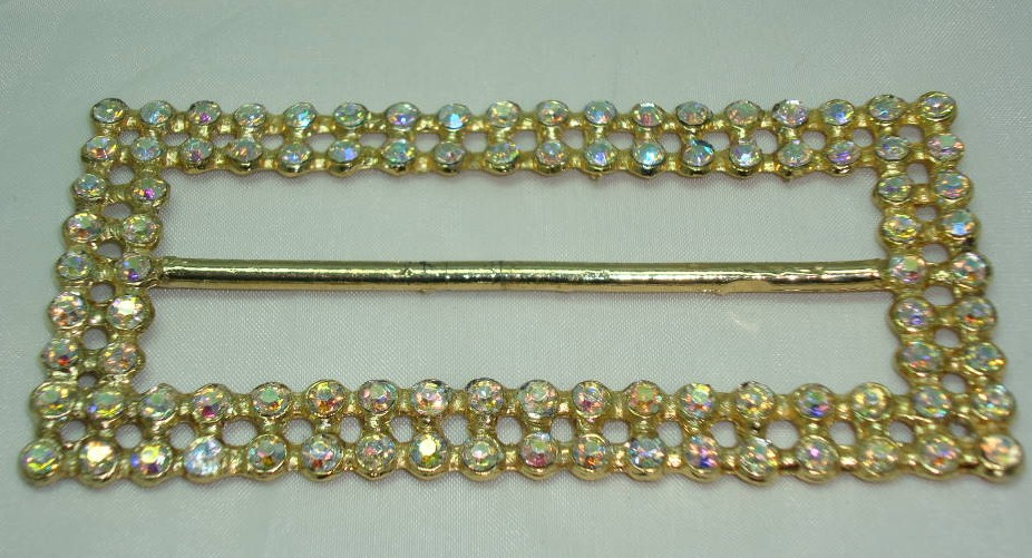 £12.00 - Vintage 50s Fab Large 2 Row AB Diamante Gold Buckle WOW