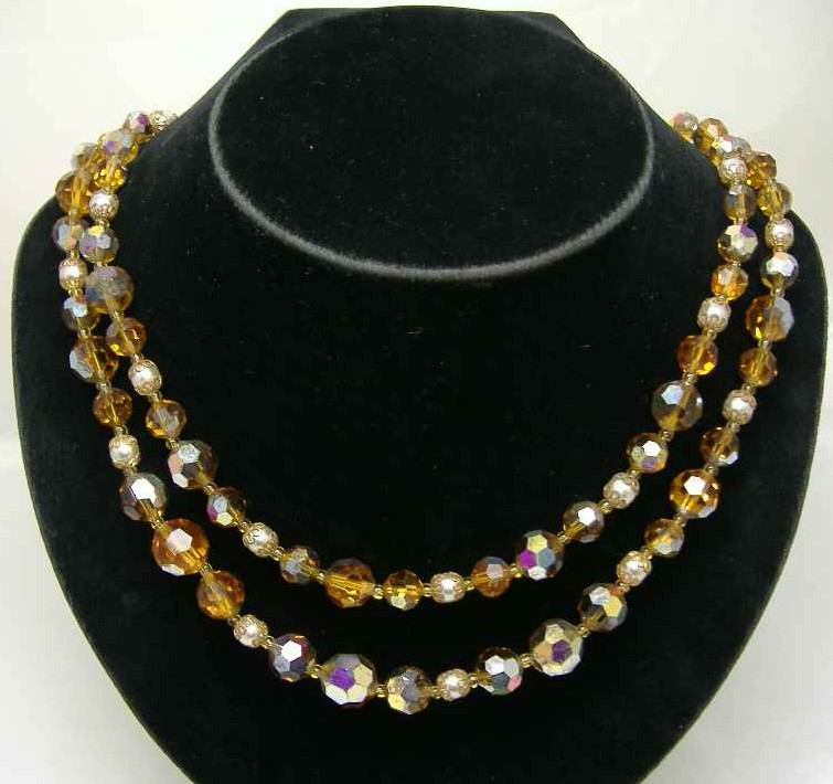 £24.00 - 1950s 2 Row Citrine AB Glass & Faux Pearl Bead Necklace