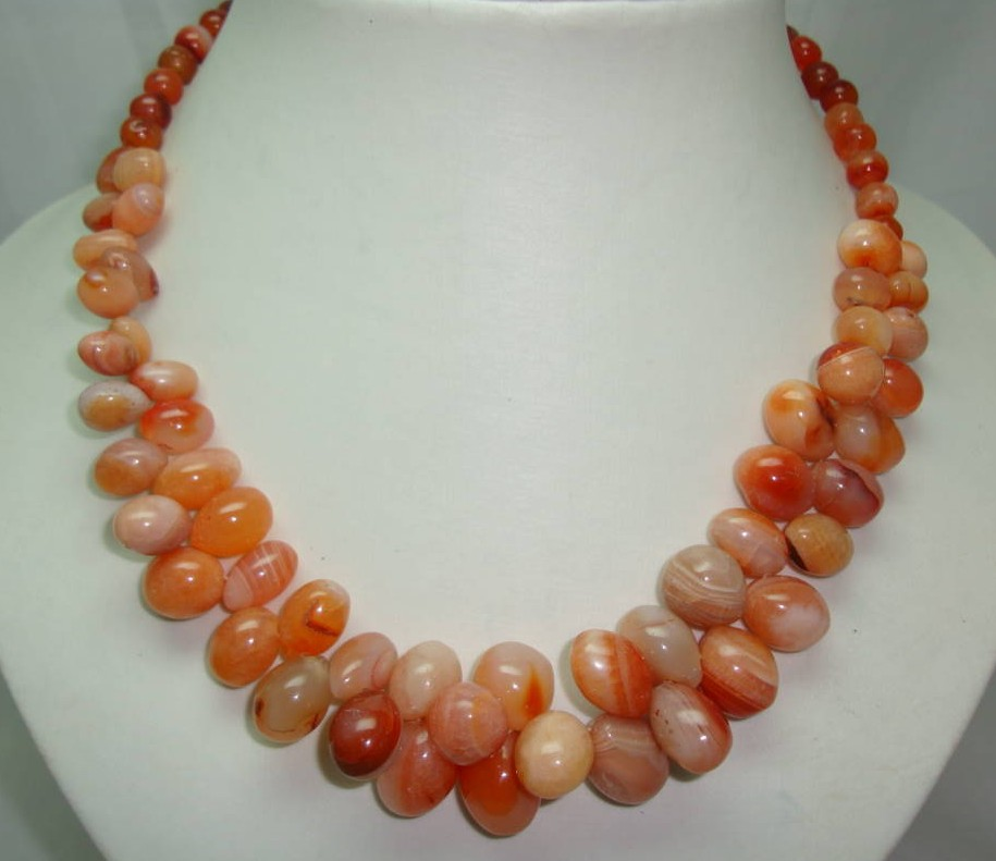 £54.00 - Vintage 50s Carnelian Smooth Bead Garland Drop Necklace