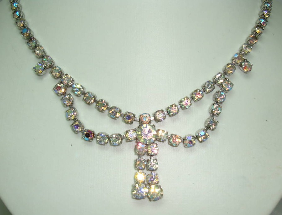 £38.40 - Vintage 50s Amazing AB Diamante Rhinestone Bow Tassel Drop Necklace