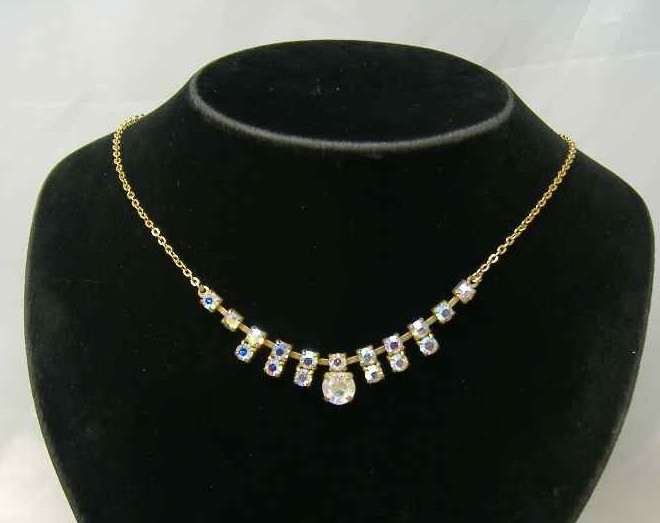 Vintage 50s Fab AB Diamante Drop Necklace on Gold Chain