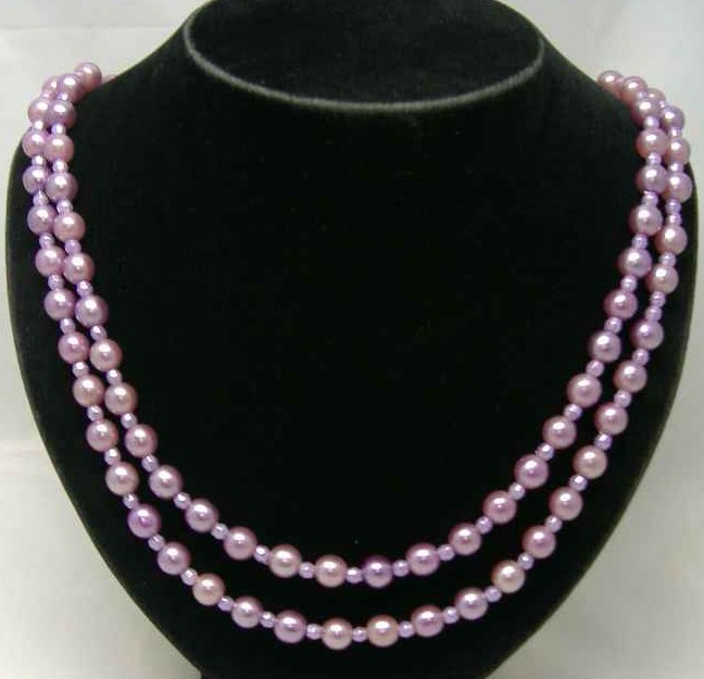 £18.00 - 50s 2 Row Lilac Faux Pearl Bead Necklace Diamante Clasp