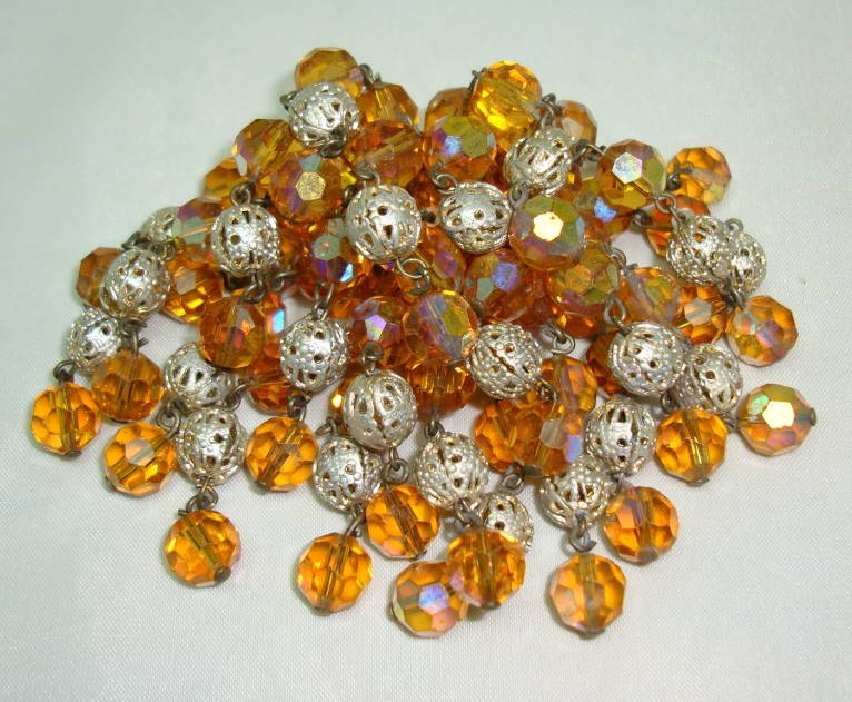 £33.60 - Vintage 50s Citrine Glass Bead & Silver Tassel Cascade Brooch