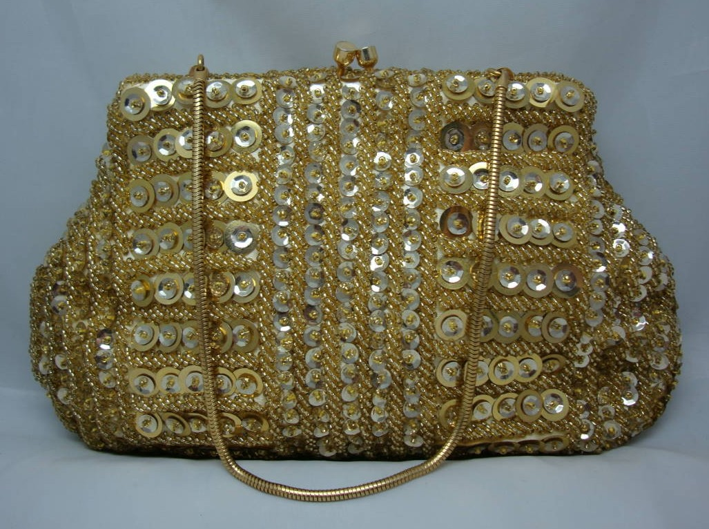 Vintage 50s Quality Gold Sequin & Bead Evening Handbagg