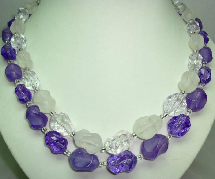 £14.40 - Vintage 50s 2 Row Purple & Clear Lucite Bead Necklace
