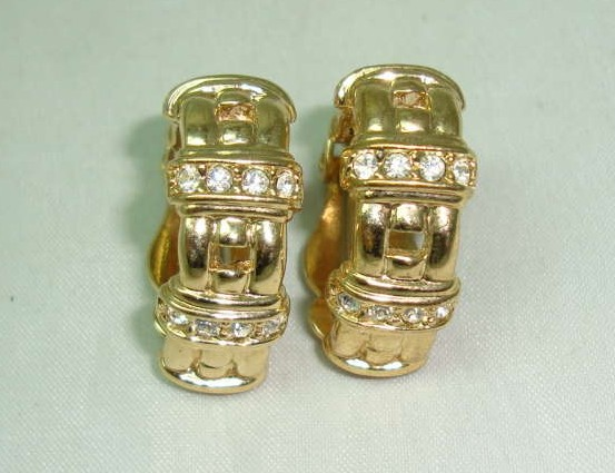 Vintage 80s Half Hoop Diamante Gold Chain Link Design Clip On Earrings