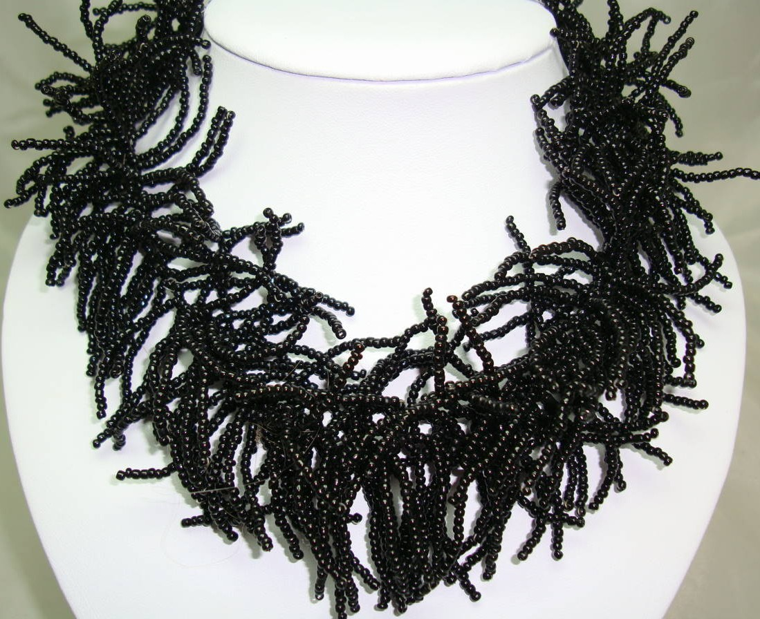 Designer Wide Black Glass Seed Bead Collar Necklace Statement Piece!