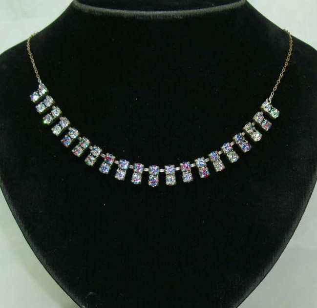 Vintage 30s Sparkling Double Row AB Rhinestone Diamante Necklace