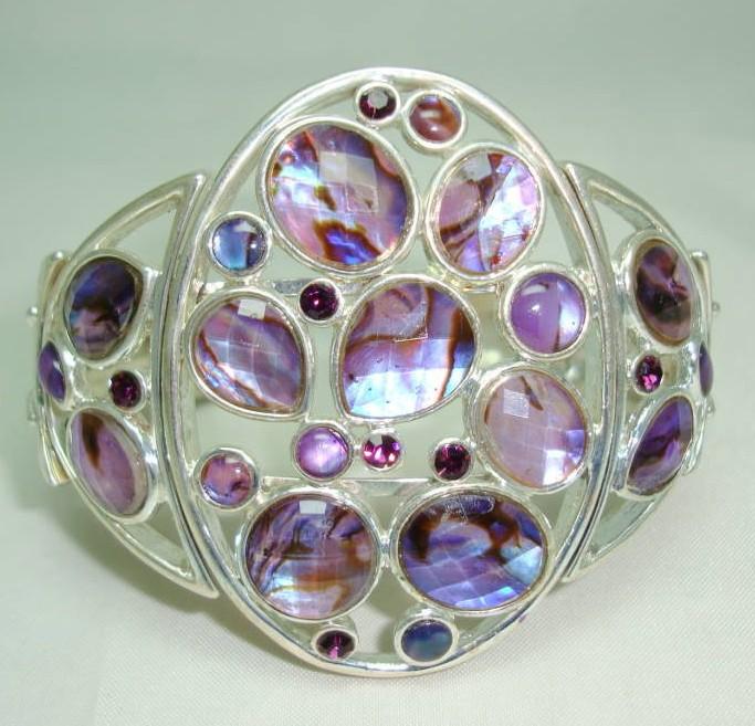 Vintage 50s Style Wide Purple Lucite & Diamante Silver Cuff Bracelet