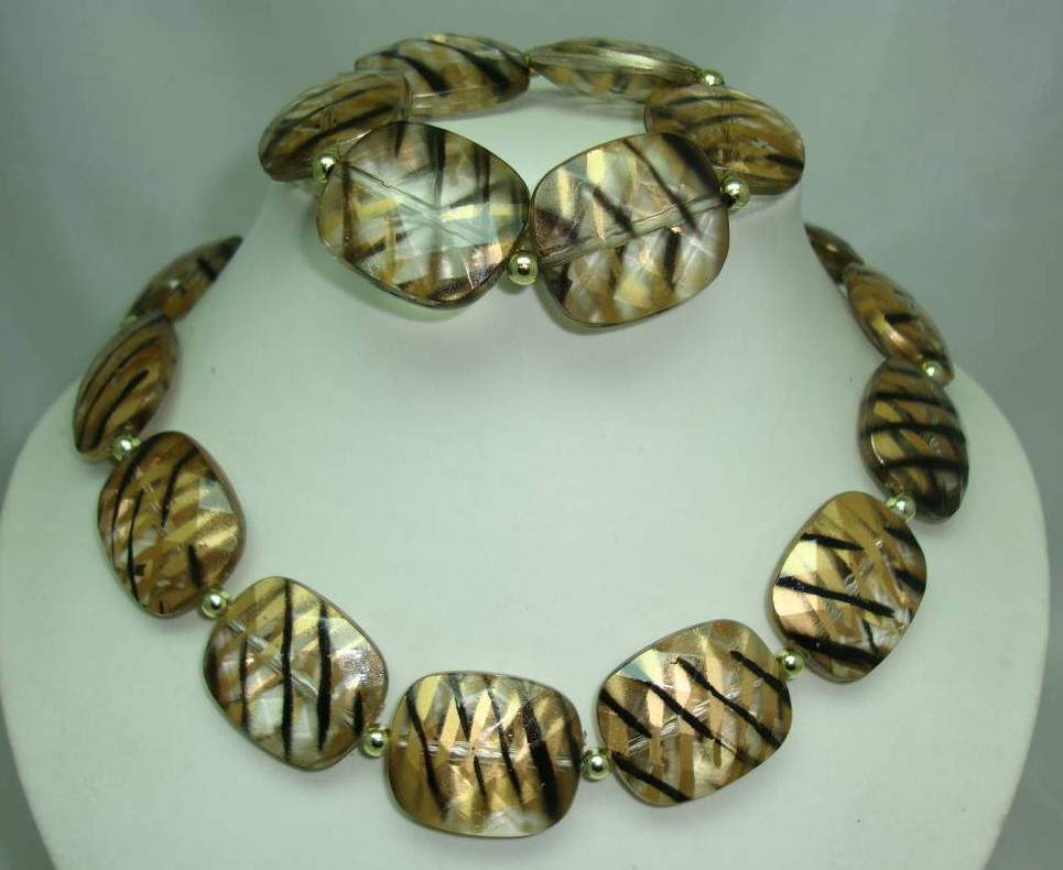 Chunky Gold Black Stripe Lucite Bead Necklace with Matching Bracelet