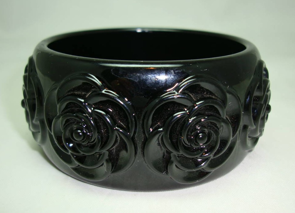 Fabulous Chunky Wide Black Carved Roses Plastic Bangle Statement Piece