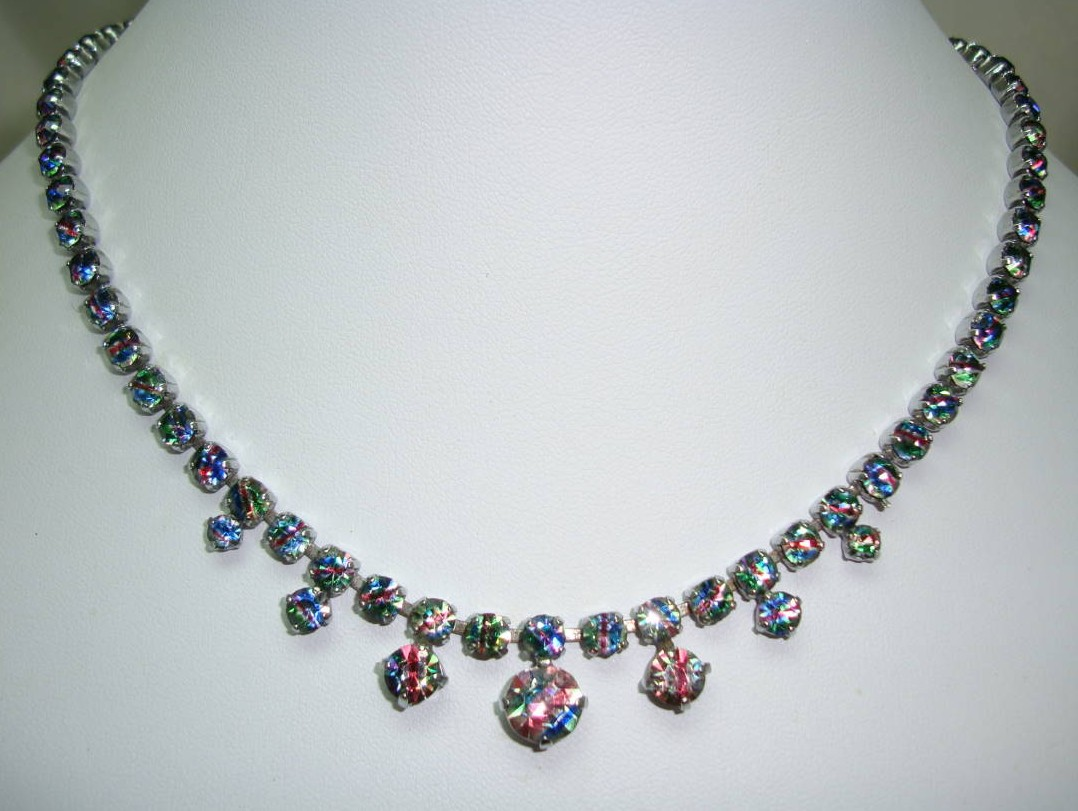 Vintage 30s Stunning Iris Glass Rainbow Diamante Drop Necklace Sparkly