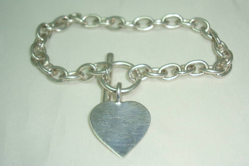 Fabulous Heavy Sterling Silver Heart Tag Charm Toggle Bracelet
