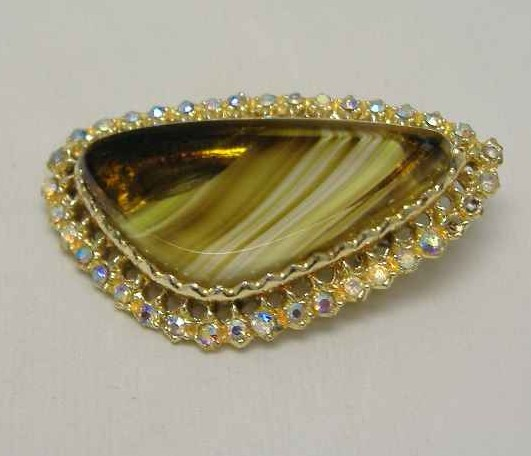 Vintage 50s Abstract Green Agate Glass Diamante Brooch