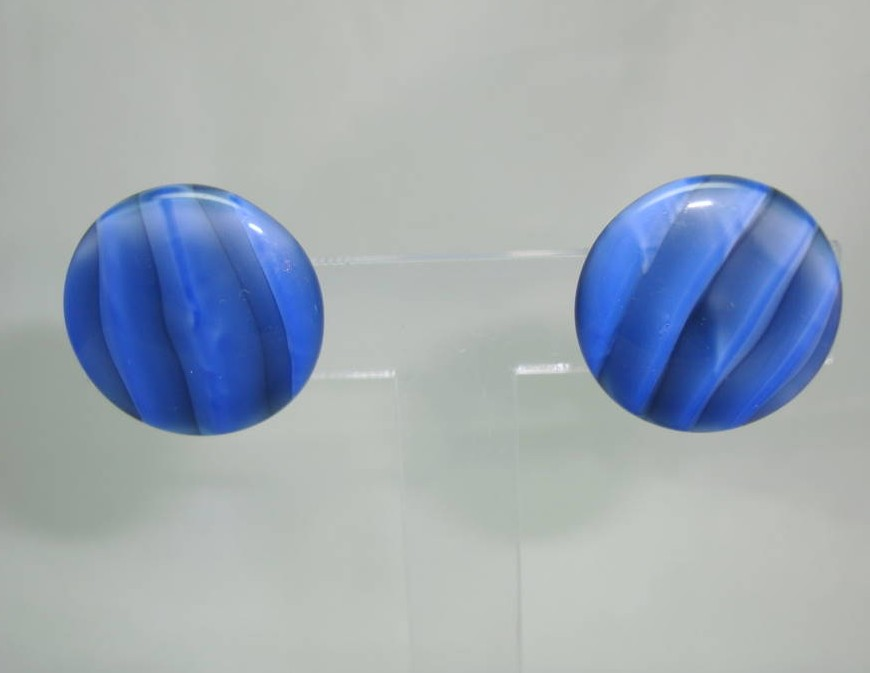 Vintage 40s Retro Semi Precious Blue Agate Button Clip On Earrings