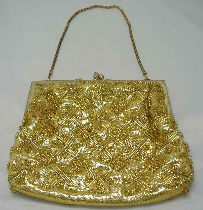 Vintage 1950s Fabulous Gold Bead Evening Purse Handbag