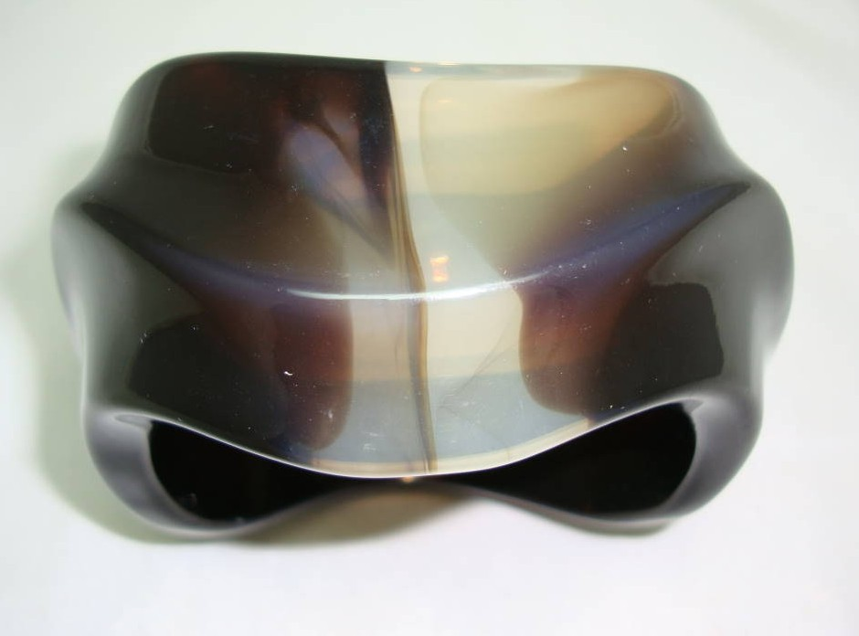 £40.00 - Vintage 80s Chunky Wide Brown Swirl Design Resin Lucite Cuff Bangle