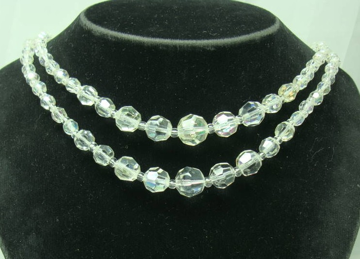 £18.00 - Vintage 50s Fab 2 Row AB Crystal Glass Bead Necklace