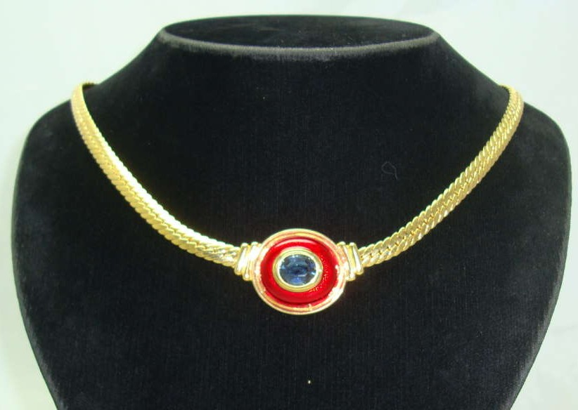 Vintage 80s Red Enamel Blue Diamante Gold Necklace