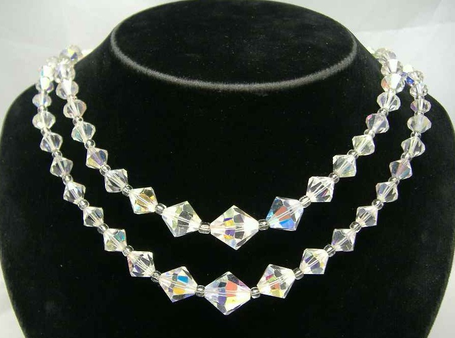 Vintage 1950s Two Row AB Crystal Glass Bead Necklace Diamante Clasp