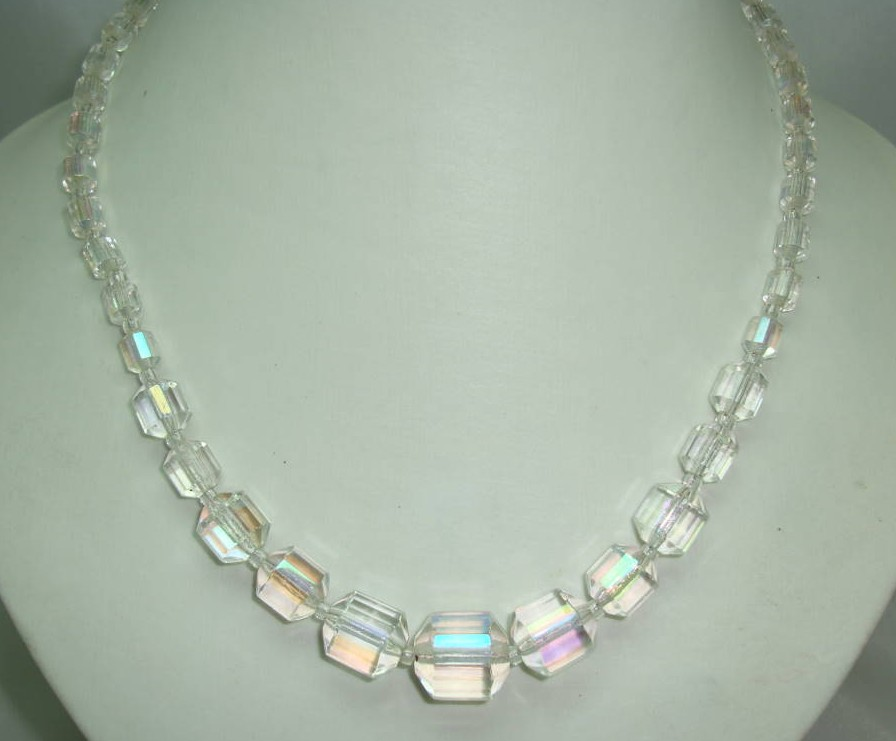 £22.40 - Vintage 30s Beautiful AB Crystal Glass Barrel Shaped Bead Necklace