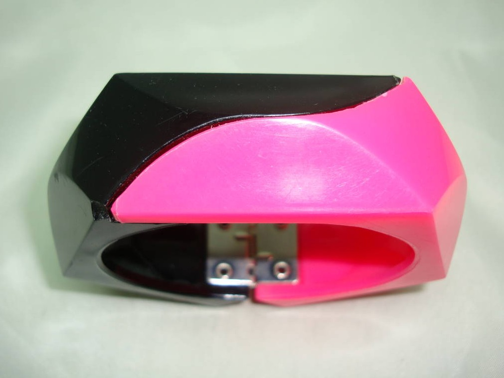 Vintage 80s Wide Neon Pink and Black Plastic Clamper Cuff Bangle