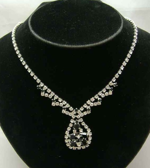 Vintage 50s Diamante Pendant Drop Choker Necklace WOW