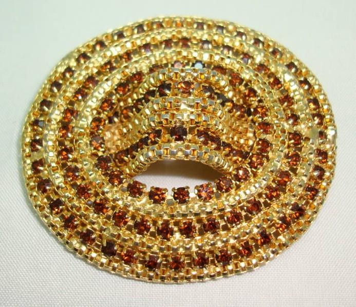 £27.20 - Vintage 50s Fabulous Large Domed Oval Citrine Diamante Goldtone Brooch