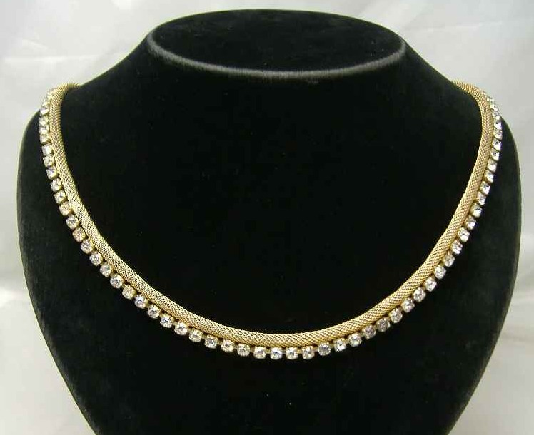 £20.40 - Vintage 50s Sparkling Diamante & Gold Mesh Necklace