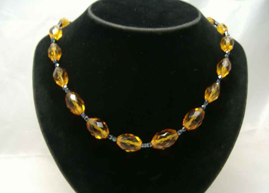 Vintage 50s Amber Citrine Crystal Glass Bead Necklace