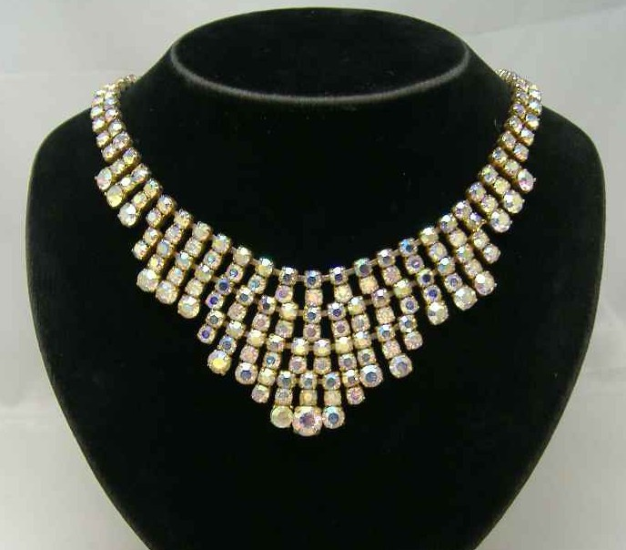 Vintage 50s Sparkling AB Diamante Festoon Bib Gold Necklace WOW