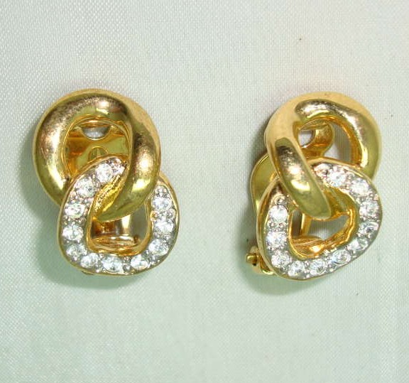 £16.00 - 80s Stunning Chain Link Style Diamante Goldtone Clip On Earrings