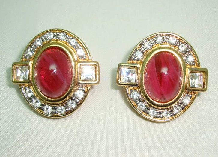 £27.20 - 1980s Diamante and Red Cabochon Glass Clip On Gold Earrings - Quality