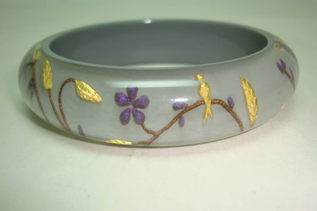 Designer Zsiska Grey Gold and Purple Flowers Birds Clear Lucite Bangle