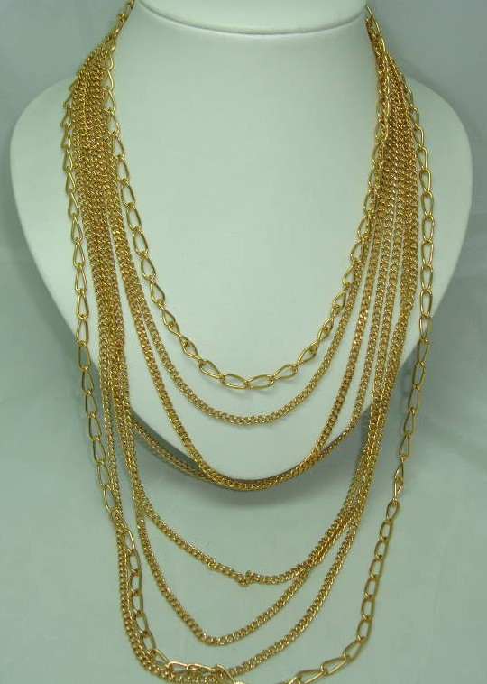 Vintage 50s Signed Century Fab 8 Row Gold Graduating Chain Necklace